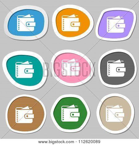 Purse  Symbols. Multicolored Paper Stickers.