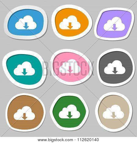 Backup Symbols. Multicolored Paper Stickers.