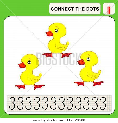 Connect the dots preschool exercise task for kids numbers three