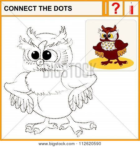 Connect the dots preschool exercise task for kids cute owl with fluffy ears.