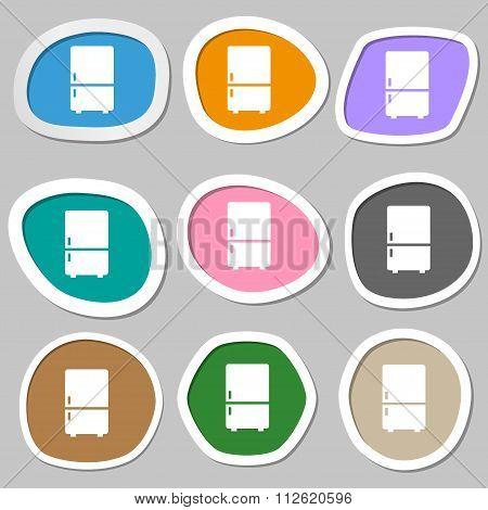 Refrigerator Symbols. Multicolored Paper Stickers.