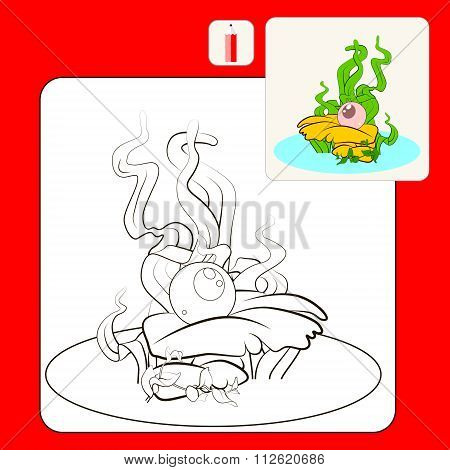 Coloring Book or Page Cartoon Illustration of luxury pink pearl in the oyster. Vector isolated.