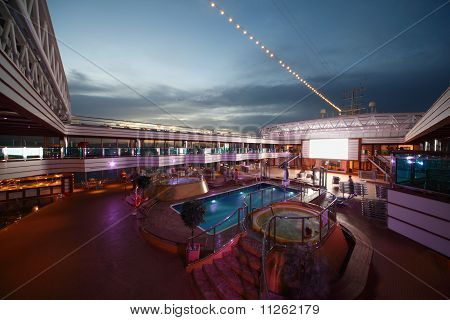 Swimming Pools on deck of Costa Deliziosa - the newest Costa cruise ship