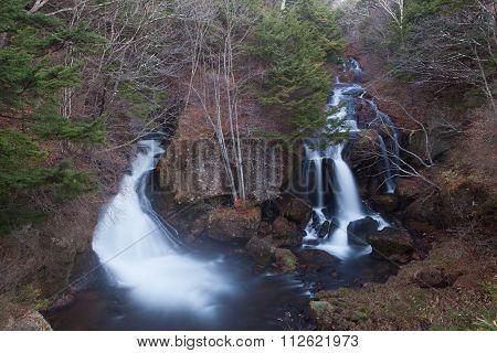 Ryuzu Waterfall at Nikko city japan in autumn season