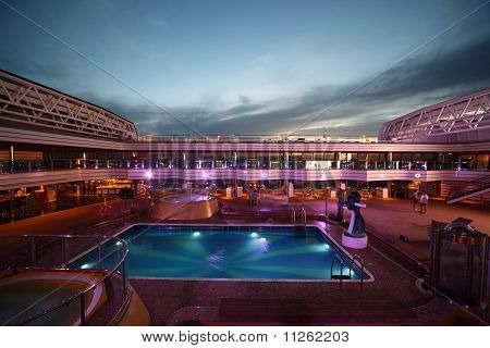 Swimming pool on deck of Costa Deliziosa - the newest Costa cruise ship