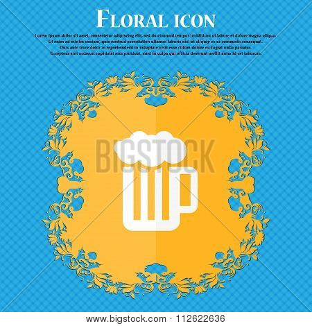 Glass Of Beer With Foam Icon. Floral Flat Design On A Blue Abstract Background With Place For Your