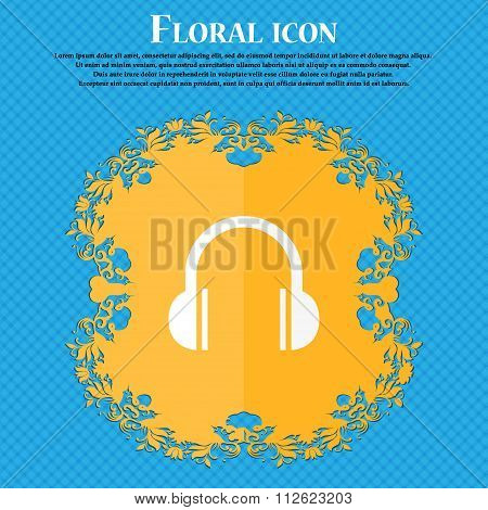 Headphones Icon. Floral Flat Design On A Blue Abstract Background With Place For Your Text.