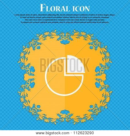 Infographic Icon. Floral Flat Design On A Blue Abstract Background With Place For Your Text.