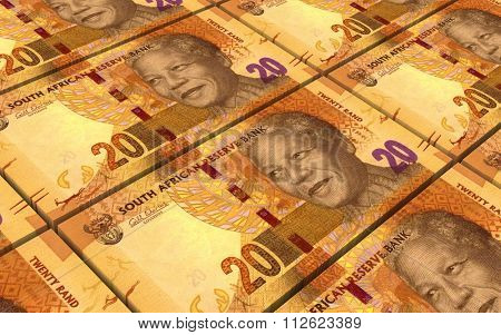 South african rands bills stacks background. Computer generated 3D photo rendering.