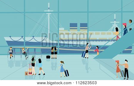 sea port cruise boat busy activities people arrive departure go for travel