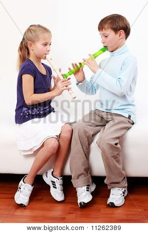 Kids Playing Flute