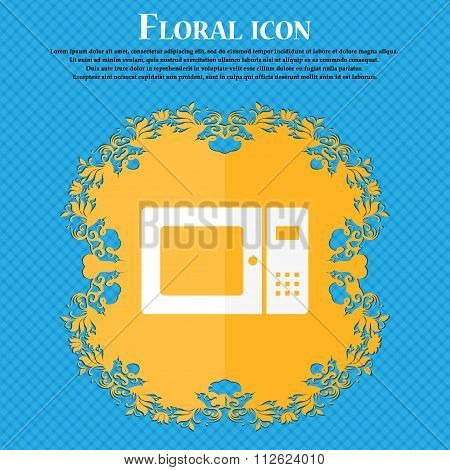 Microwave Icon. Floral Flat Design On A Blue Abstract Background With Place For Your Text.