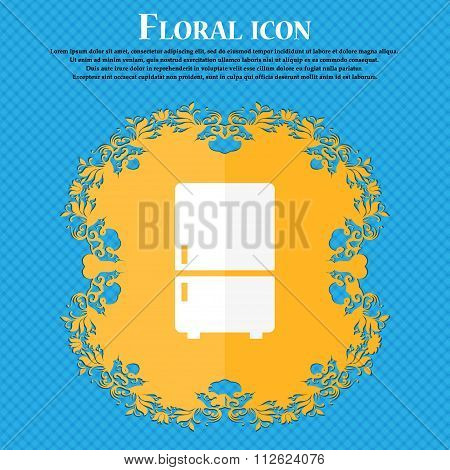 Refrigerator Icon. Floral Flat Design On A Blue Abstract Background With Place For Your Text.