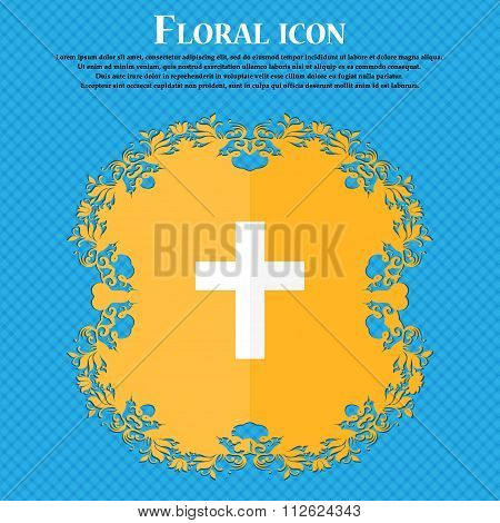 Religious Cross, Christian Icon. Floral Flat Design On A Blue Abstract Background With Place For