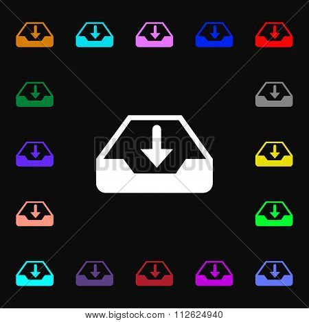 Restore Icon Sign. Lots Of Colorful Symbols For Your Design.