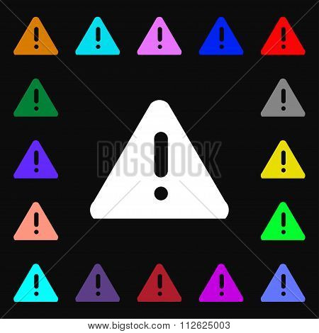 2Exclamation Mark, Attention Caution Icon Sign. Lots Of Colorful Symbols For Your