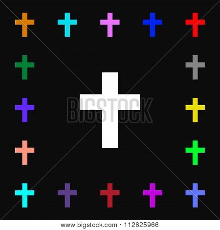Religious Cross, Christian Icon Sign. Lots Of Colorful Symbols For Your Design.
