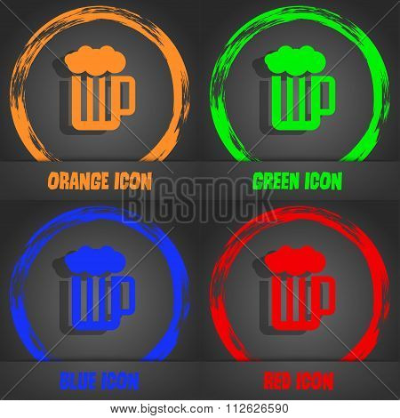 Glass Of Beer With Foam Icon. Fashionable Modern Style. In The Orange, Green, Blue, Red Design.