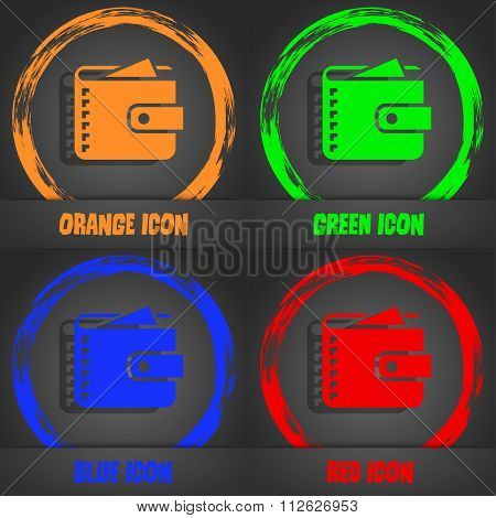 Purse  Icon. Fashionable Modern Style. In The Orange, Green, Blue, Red Design.