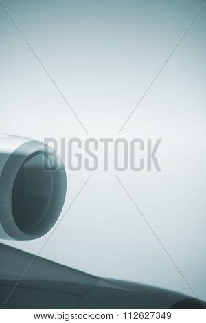 Airplane Jet Engine Wing And Clouds