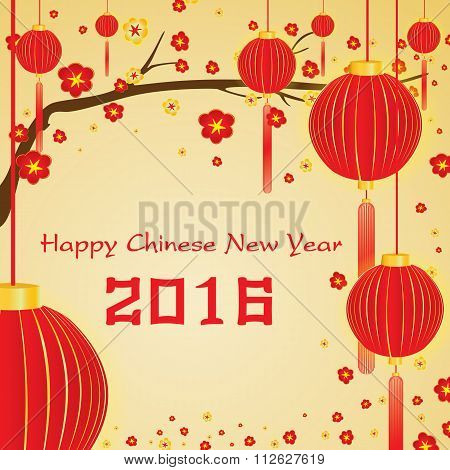 Happy Chinese New Year 2016 Card on gold background.