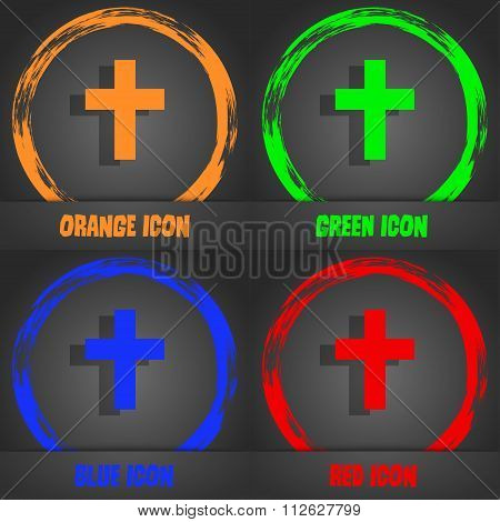 Religious Cross, Christian Icon. Fashionable Modern Style. In The Orange, Green, Blue, Red Design.
