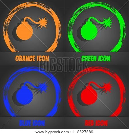 Bomb Icon. Fashionable Modern Style. In The Orange, Green, Blue, Red Design.