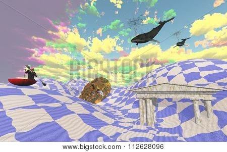 Strange desert scene with flying whales and man boating in sand in large umbrella