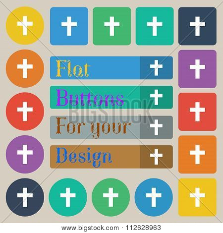 Religious Cross, Christian Icon Sign. Set Of Twenty Colored Flat, Round, Square And Rectangular