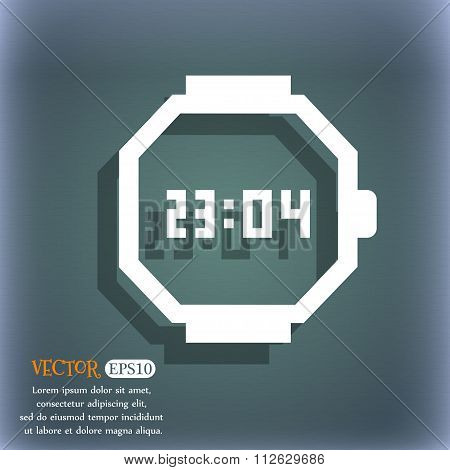 Wristwatch Icon. On The Blue-green Abstract Background With Shadow And Space For Your Text.