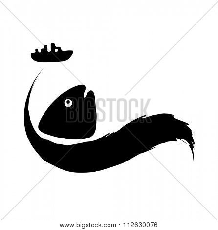fish in in polluted water, Water pollution concept, illustration