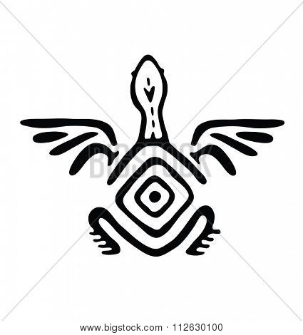 black winged animal in native style, illustration