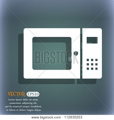 Microwave Icon. On The Blue-green Abstract Background With Shadow And Space For Your Text.