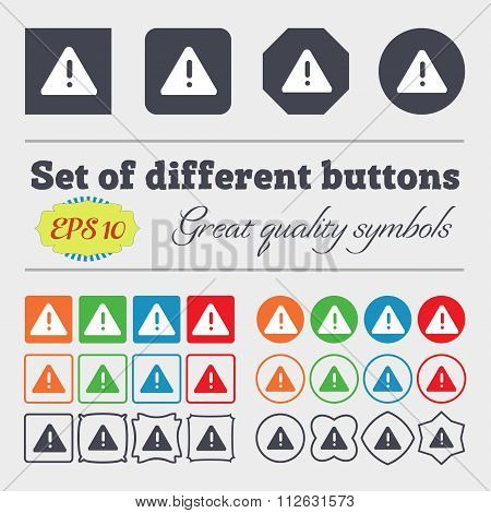 Exclamation Mark, Attention Caution Icon Sign. Big Set Of Colorful, Diverse, High-quality Buttons.