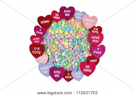 Circle Of Hearts With Colorful Heart Shaped Candies Isolated On White Background