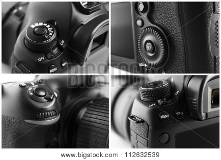 Collage of digital cameras, close up