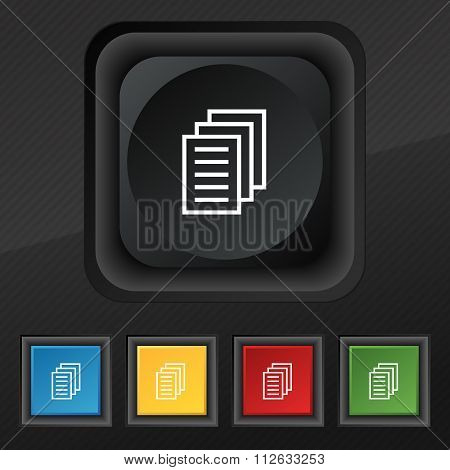 Copy File, Duplicate Document Icon Symbol. Set Of Five Colorful, Stylish Buttons On Black Texture