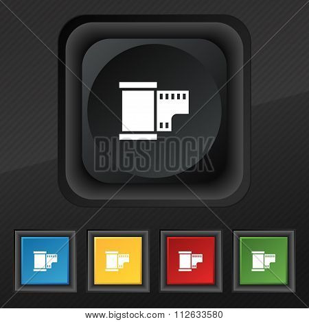 35 Mm Negative Films Icon Symbol. Set Of Five Colorful, Stylish Buttons On Black Texture For Your