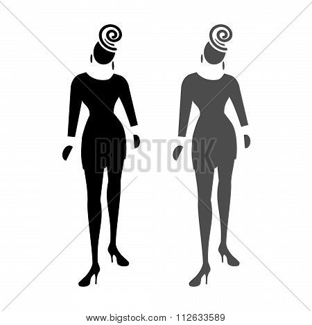 Busines lady web icon. High society, fashion symbol. Black and grey front standing silhouettes on wh