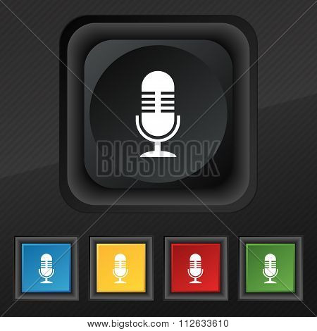 Microphone Icon Symbol. Set Of Five Colorful, Stylish Buttons On Black Texture For Your Design.