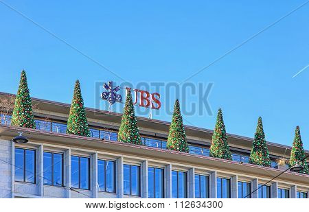 Christmas Trees On The Top Of The Ubs Building