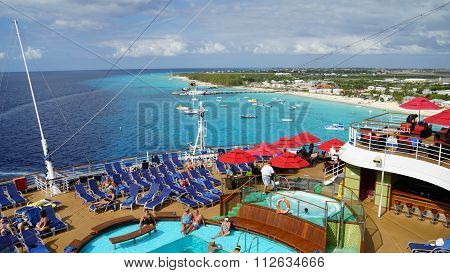Carnival Breeze sailing away from La Romana, Dominican Republic
