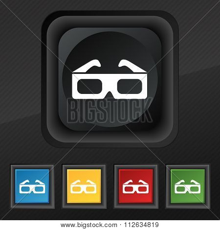 3D Glasses Icon Symbol. Set Of Five Colorful, Stylish Buttons On Black Texture For Your Design.