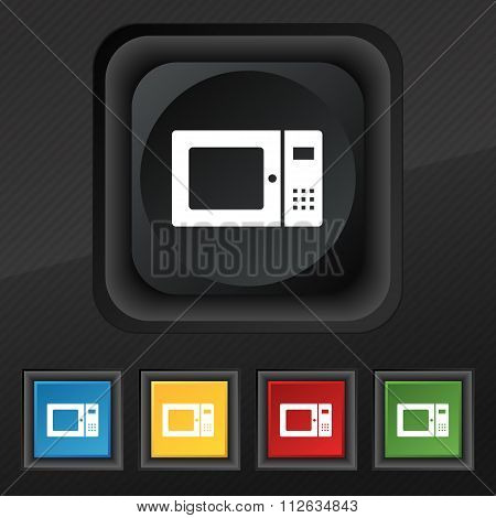 Microwave Icon Symbol. Set Of Five Colorful, Stylish Buttons On Black Texture For Your Design.