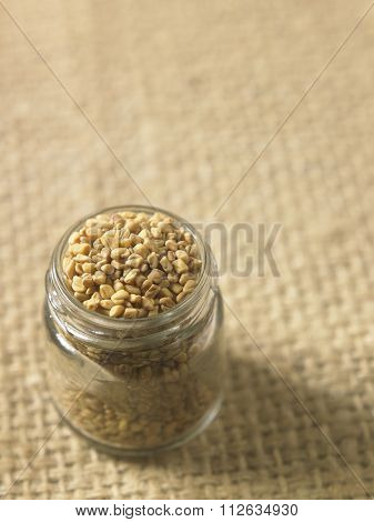 fenugreek in a glass container