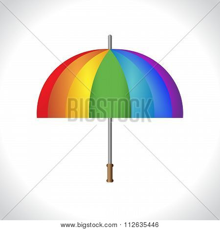 Umbrella icon. Protection from rain. Colorful, rainbow illustration on white background. Vector