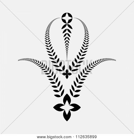Laurel wreath tattoo. Decorative bowl, goblet icon with croses. Ornament sign of five branches. Vict