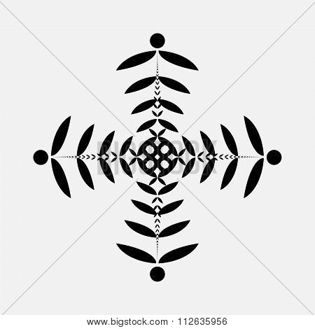 Laurel wreath tattoo. Cross. Stylized black ornament of leaves. Religion sign. Protection, peace, gl