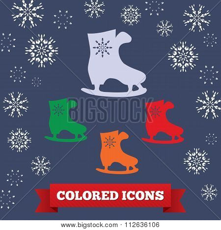 Skating icon. Sport, winter symbol. Colored skate silhouette on dark blue background with snowflake