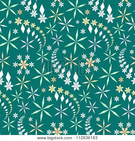 Seamless christmas pattern. Snowflakes, crystals, stars on turquoise blue background. Gray silhouett